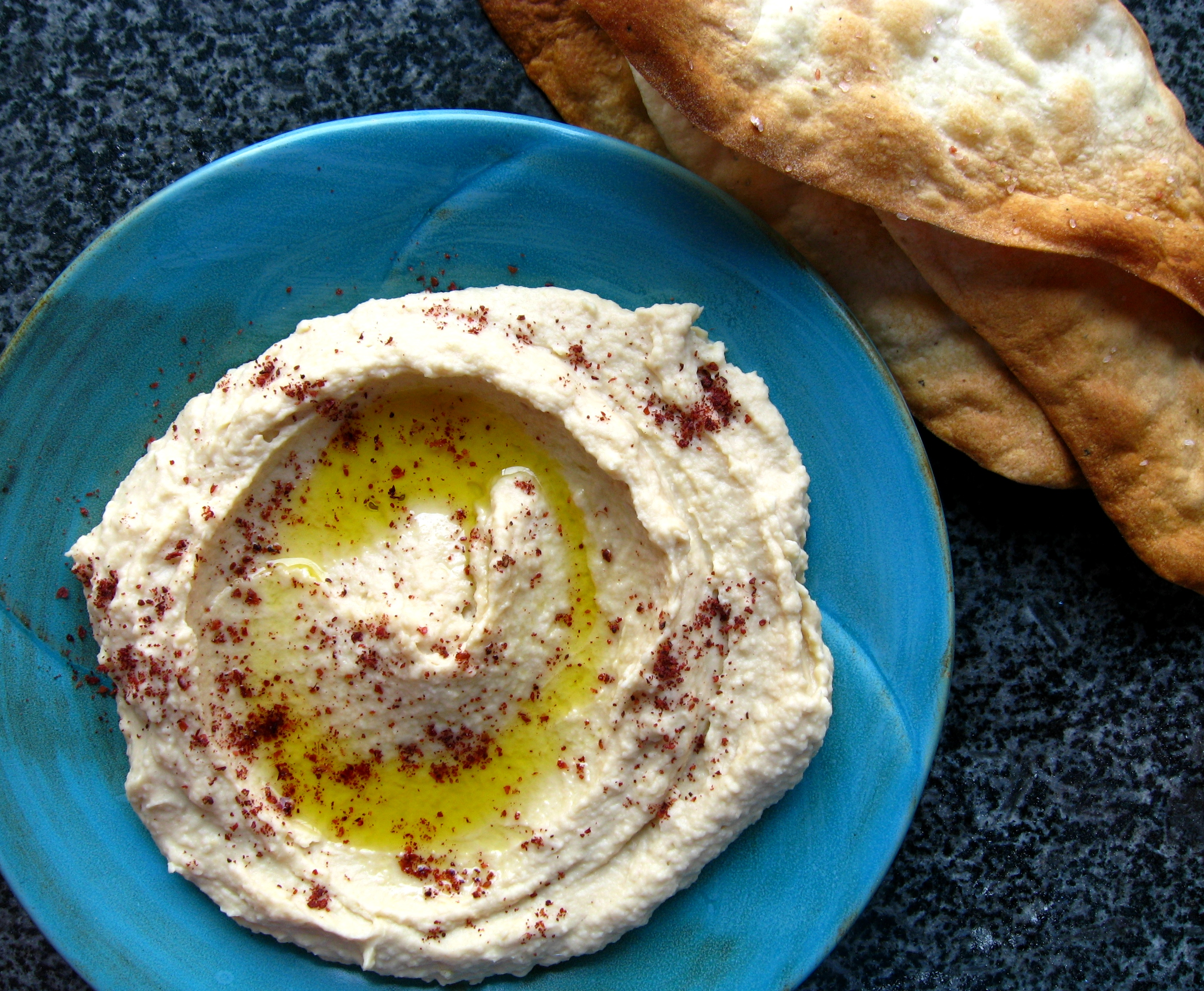 Garlicky Hummus with Olive Oil Crackers