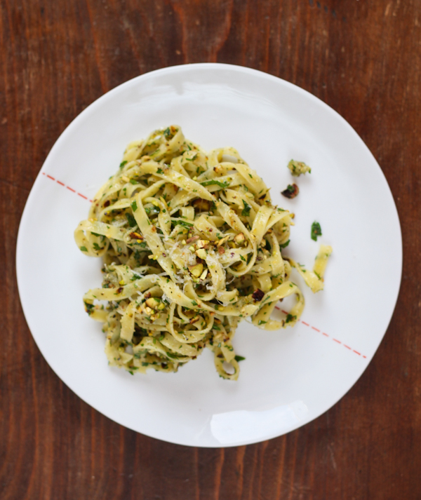 Peppery Pecorino, Parsley and Pistachio Pasta